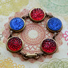 vintage bubble glass red and blue antiqued brass bracelet