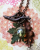 upcycled vintage soda bottle glass beads oak maple autumn hand painted leaves branch necklace renee hong