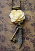 skeleton key vintage patina angel wing ivory rose necklace