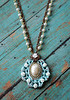 pearl cabochon set in shabby turquoise vintage filigree setting with white roses handmade necklace renee hong