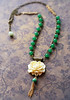 ivory rose flower floral necklace rosary chain vintage green glass beads tassel fineanddandy