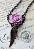 rose wings key filigree black pink purple necklace