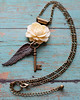 white ivory rose angel wing skeleton key necklace