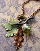 autumn fall leaves handmade necklace with green acorn by renee hong jewelryfineanddandy
