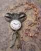time flies wing key clock steampunk handmade necklace jewelryfineanddandy