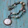 moon rainbow pastel bohemian beaded necklace