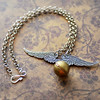 silver wings golden flying snitch quidditch harry potter fantasy necklace by jewelryfineanddandy renee hong