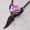 pink purple mauve rose black filigree rustic skeleton key angel wing handmade necklace