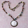 rainbow moon face boho beaded vintage lucite czech glass necklace