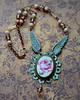 angel wing verdigris and pink rose filigree czech glass necklace