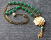 ivory rose vintage green glass rosary chain floral vintage style tassel necklace jewelryfineanddandy renee hong