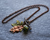 autumn fall leaves and acorn handmade necklace upcycled glass beads branch toggle renee hong jewelryfineanddandy