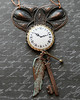 clock face watch face wing key flying charm rustic steampunk necklace vintage style jewelryfineanddandy renee hong