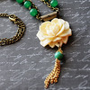 vintage style floral rose necklace green and white handmade jewelry fineanddandy renee hong