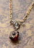 vintage ruby red stone filigree crystal necklace