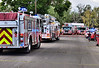 Multiple fire apparatus seen here from Colorado Springs Fire Department that were dispatched to a home that caught fire on Chalmers Road.<br /> <br /> Colorado Springs Fire Department was dispatched to a possible structure fire on Chalmers Road. The incident took place on August 25, 2012. The first company arriving on scene reported smoke coming from the residence. A full first alarm apparatus response was put on this structure fire assignment by dispatch. Engine 8 was assigned to hook up to the nearest hydrant for water supply. The first interior crew was able to get a quick knockdown on this fire and bring it under control. A primary and secondary search by fire crews, inside the home, confirmed that all occupants made it safely to the outside of the residence. No injuries were reported during this incident. According to Public Information Officer, Lt. Jeff Sievers, arson is suspected because of a possible domestic dispute, where gasoline may have been poured on things inside the home. The exact cause of the fire is under investigation by Colorado Springs Fire Department. I spoke with a neighbor, who said he saw smoke coming from the residence, and immediately called 911.