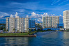 The port, ship channel and apartment blocks at Fort Lauderdale, Florida, USA.