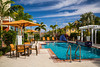 The swimming pool area of the Marriott Courtyard Hotel in Homestead, Florida, USA.