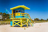 A colorful lifeguard tower on Miami Beach, Florida.