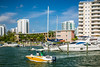 Condominiums and a marina along the intercoastal waterway in MIami, Florida, USA.