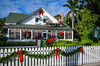 The Palm Cottage decorated for Christmas in Naples, Florida, USA.