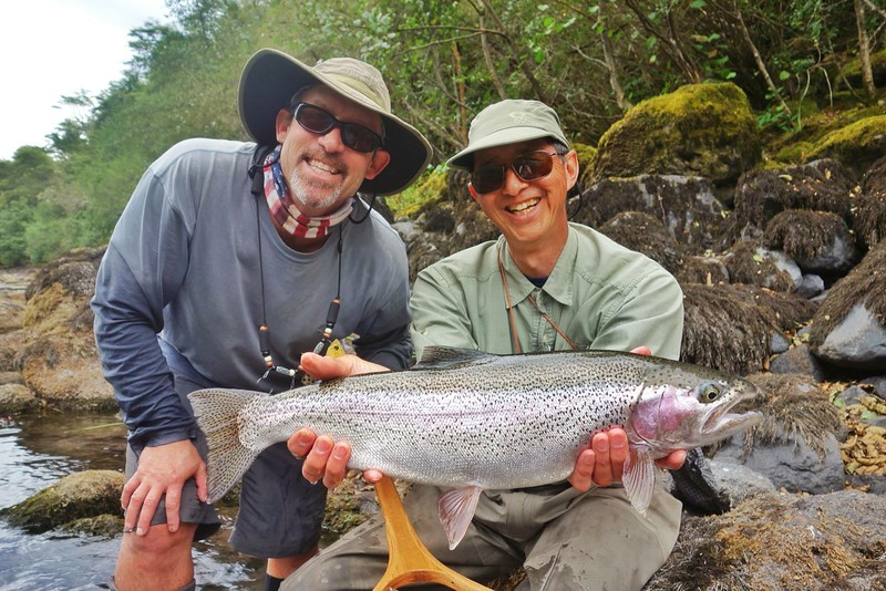 Patagonia ten pound rainbow from wade-fishing the Rio Petrohue, Chile guided by Jack Trout