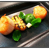 Pan fried Brixham scallops, truffle jersey royal, watercress purée, apple and sterchan leaf