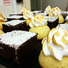 Chocolate brownie & lemon meringue sponge