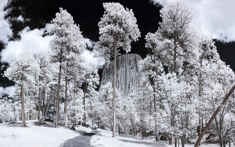 """Devil's Tower""  Wyoming  Technical Details: Shot with Infrared Canon 10D and Canon 20mm lens at F22 and 1/20 seconds."