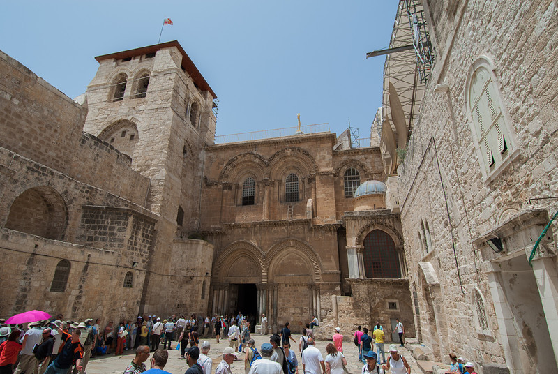 Jerusalem - Church of the Holy Sepulchre.  If you look above the main entrance, to the right, you will see the Immovable Ladder.  All decisions, concerning the church, requires the agreement of the 6 Christian denominations running the church.  Since these denominations can never agree to anything, the ladder stays.