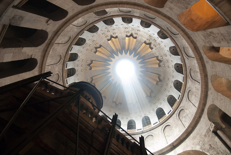 Jerusalem - Church of the Holy Sepulchre.  The Rotunda dome located above the Sepulchre, where Jesus was buried.