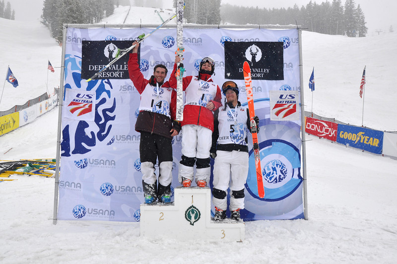 USANA U.S. Freestyle Championships dual moguls women's podium: 1. Bradley Wilson, 2. Nick Hanscom and 3. Joe Discoe<br /> <br /> Photo: Riley Steinmetz/U.S. Ski Team
