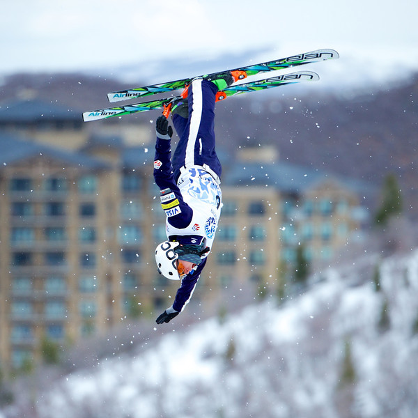 Aerials competition at the 2014 USANA U.S. Freestyle National Championships at Deer Valley, UT. Photo © Kirk Paulsen