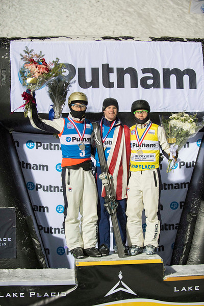 Hang Zhou, Mac Bohonnon and Guang Qi<br /> 2015 Putnam FIS Freestyle World Cup in Lake Placid<br /> Aerials<br /> <br /> Photo © Julien Heon<br /> Photo may be used for editorial use only. All other inquiries please contact jh@julienheon.com