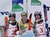 Justine Dufour LaPointe, Hannah Kearney and Chloe Dufour LaPointe<br /> 2015 FIS Freestyle Moguls World Cup Finals in Megeve, France.<br /> Photo: Garth Hagar/U.S. Ski Team
