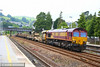 66117 heads north through Totnes on the:<br /> 6W99 04:40 Long Rock to Westbury<br /> <br /> 18/07/14