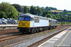56103 & 56312 head north through Totnes on the:<br /> 0Z57 16:29 Plymouth to Washwood Heath<br /> <br /> 17/07/14