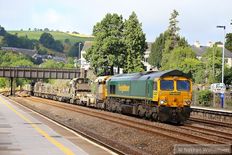 66614 Top & Tailed with 66595 heads north through Totnes on the: 6Y97 05:10 Roskear Crossover to Westbury via Penzance  25/07/13