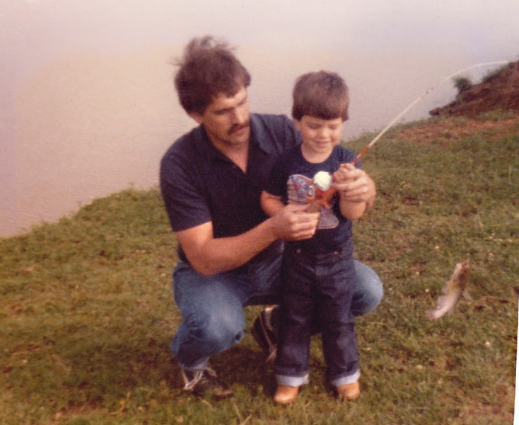 Matthew was always a little better at the whole fishing thing. Did anyone else notice that we were both wearing t-shirts with the Confederate flag on them! Don't worry, we weren't little baby rednecks! We just loved us some Dukes of Hazzard and the General Lee.