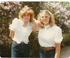 Becky Warner and Linda Summer.  Taken October, 1983 in front of lilacs, on mom and dad's farm.