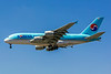 Korean Air, HL7615, Airbus A380-861, msn 075, Photo by John A Miller, LAX, Image XA001LAJM