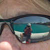 Beautiful snorkelling area reflected in Sue's sunnies.