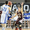 Photo by, Franklin Brown<br /> Boys Class C Quarterfinals<br /> George Stevens Academy vs. Lee Academy<br /> Cross Center, Bangor, Maine<br /> February 18, 2014