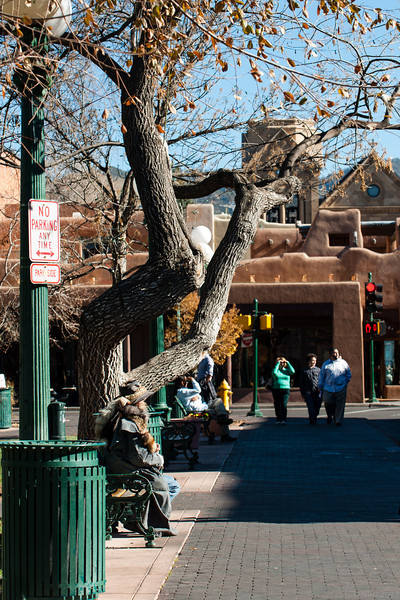 Santa Fe plaza, Santa Fe, New Mexico.