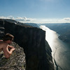 Magnus checking out the view of Lysefjord from Kjerag.