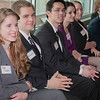 Students from the School of Management attend an Etiquette Tutorial hosted by accounting firm KPMG.  Many local business leaders participated in the event to offer advice on how to behave during meetings, interviews, and other business events.  Filename: AAR-12-3318-45.jpg