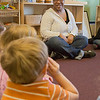 Kewanna Ellis works with pre-schoolers at the Bunnell House on the UAF campus as part of her internship for a degree in early childhood development.  Filename: AAR-12-3335-072.jpg