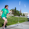 Middle school students try various rocket designs outdoors during the Alaska Summer Research Academy.  Filename: AAR-13-3862-11.jpg