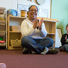 Kewanna Ellis works with pre-schoolers at the Bunnell House on the UAF campus as part of her internship for a degree in early childhood development.  Filename: AAR-12-3335-079.jpg