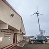 A wind-powered turbine, monitored by students and staff at UAF's Bristol Bay Campus in Dillingham, helps provide energy to the local court house.  Filename: AKA-12-3390-140.jpg